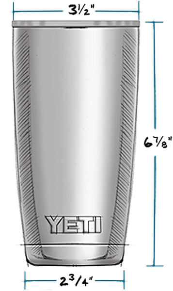 Yeti rambler 20 oz Stainless Steel Vacuum Insulated Tumbler Size